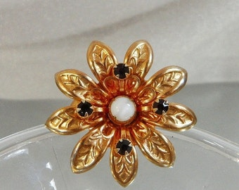 FALL SALE Vintage Flower Brooch. Moonstone. Garnet Red Rhinestones.