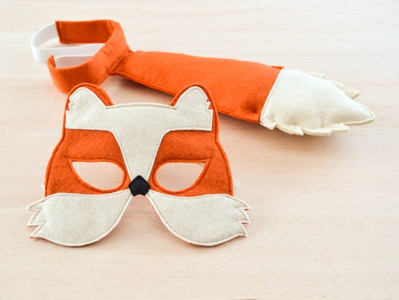 Fox Mask and Tail for Children, Kids Carnival Costume Eco Friendly Mardi Grass Dress up and Pretend Play Toy for Girls Boys and Toddlers