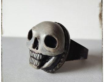 ring - Skull - memento mori, gothic, victorian, neovictorian, mourning, skull, dark, statement, horror, macabre, odd, halloween