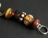 Badge Necklace. Organic Lanyard. Brown Lanyard. Lampwork Glass Lanyard. Beaded Lanyard. Badge Holder. Brown and Amber Badge Lanyard.
