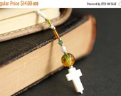 VALENTINE SALE Green and Amber Bookmark. Christian Bookmark. White Shell Cross Bookmark. Beaded Book Thong. Handmade Bookmark. Christian Cro
