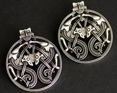 Two (2) Viking Brooches. Silver Apron Pins. Dragon Style Turtle Brooch Set. Shoulder Brooches. Norse Jewelry. Historical Jewelry.