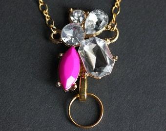 Crystal Lanyard. Hot Pink Crystal Badge Lanyard. Pink Lanyard. Gold Lanyard Necklace. ID Badge Holder. Badge Necklace. Rhinestone Lanyard.