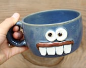 Pottery Soup Mug. Ironic Funny Face Mugs. Chicken Noodle Soup Chili Bowl with Handle. Blue. Handmade Stoneware Pottery.