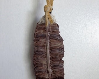 Eagle Feather - Ornament - Clay Art - OOAK - Native American Inspired