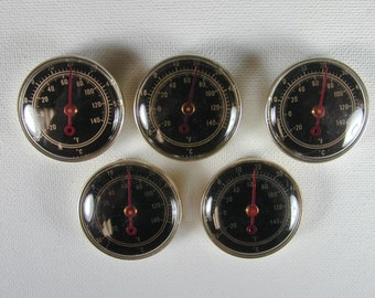 5 Small Round Vintage Inset Thermometers  Steampunk and More