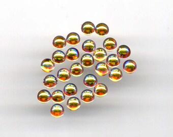 WHOLESALE DISCOUNT* 50 Pieces 5mm Golden Amber Topaz Aurora Borealis ab glass round cab cabochon Czech diy Pendant Necklace Bracelet Ring