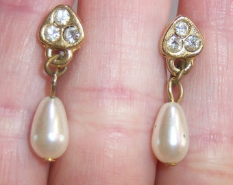 vintage tiny white dangle and drop bead with gold tone and rhinestones pierced earrings
