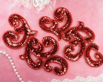 """Sequin Appliques Red MIRROR PAIR Scroll Designer Beaded Iron On 7"""" (XR357X-rd)"""