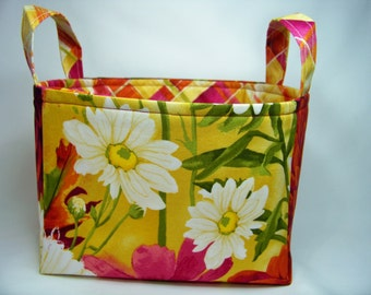 PK Fabric Basket in Large Scale Dahlias - Ready To Ship - Washable - Reversible