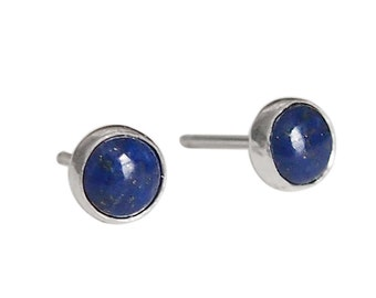 Gemstone Stud Earrings - Lapis Lazuli