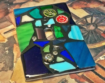 COOL Colors- Green/Blue/Purple - STAINED Glass MOSAIC Light Switch Cover - single, double, triple, outlet, or decora gfci - made to order