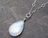 Rainbow Moonstone Necklace Sterling Silver Wire Wrapped Briolette Teardrop Pendant  with Sterling Silver Dainty Chain