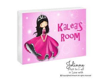Princess door sign, personalized door plaque, children custom name door hanger, girls room decor, pink princess door sign,girls nursery sign