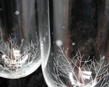 Pair of Winter Woodland Snowflake Crystal Wine Glasses