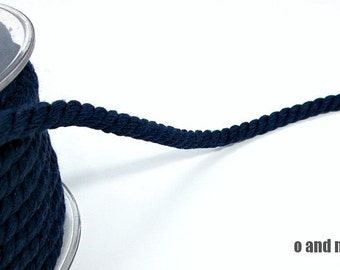 Twisted cotton cord, 8 mm, midnight blue, 2 meters