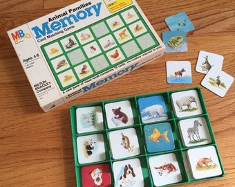 Vintage 1980s Childrens Game / Milton Bradley Animal Families Memory Card Matching Game 1980 Complete / No Reading Required