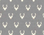 Scandi 3 Christmas Holiday Nordic Design Makower UK Fabric Scandinavian Reindeer Stags Heads Rudolph on Gray Grey