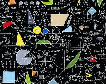 Mathematics School Math Algebra Geometry Equations Fabric on Black TT