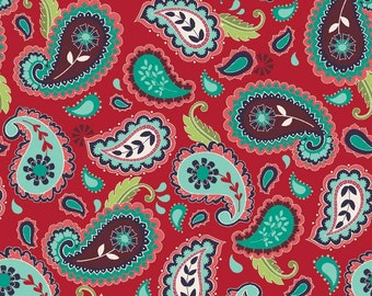 La Vie Boheme Riley Blake Fabric By The Quilted Fish Red Bright Colorful Paisley