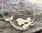 Mermaid necklace- hand stamped mermaid necklace- beach boho jewelry-personalized custom jewelry with names and words- gift idea for her