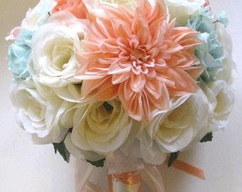 "Wedding bouquets Silk flowers CREAM PEACH Light MINT Blush 17 piece Package  bouquet Bridal Bride flower centerpiece  ""RosesandDreams"""