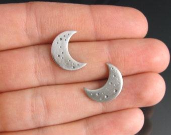 sterling silver crescent moon earrings - sterling silver earrings - stud earrings - night - large stud