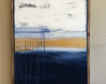 large navy and gold abstract painting- wood frame- navy blue gold neutral- custom sizes and color schemes available