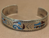 Navajo Silver Bracelet Inlaid Billy Slim