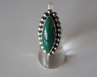 Mexican Silver Ring Green Stone