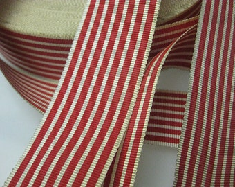Vintage 30s millinery Red White Striped Petersham Grosgrain ribbon 1-5/8 inch P051