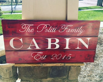 Cabin sign, custom with family name and established year, lake cabin sign, wood cabin sign, custom cabin sign, cabin decor