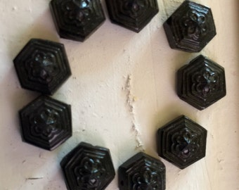 Antique black Glass nailhead beads victorian mourning beads buttons flat backs sew on flapper designs flowered Octagon