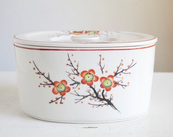 Kitchen Storage Canister, Moriyama Cherry Blossom Pattern in Red and Orange, Art Deco, Japanese Ceramics, Lidded Dish