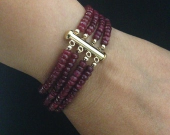 BEST SELLER Multi Strand Genuine Ruby Gemstone Bracelet with Gold Filled Clasp