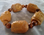 "Buddha Bracelet, Buddha Beads, Large Yellow Jade Buddha Head (1"") Beads, Buddhist - BRA101"