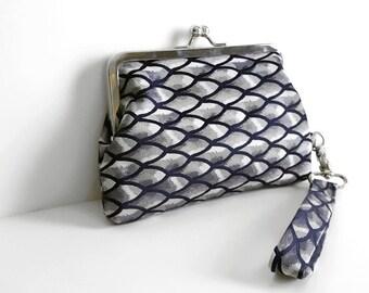 Gray Wristlet Fishscale Clutch Necktie Wristlet Necktie Clutch Blue and Gray Clutch Navy Fishscale Purse Vintage Necktie Clutch Vintage Tie