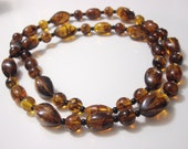 Tortoise Shell Bead Necklace, Faux Tortoise Shell Necklace, Brown Bead Necklace, Summer Necklace, Rootbeer Bead Necklace