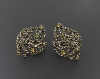 Avon Rhinestone Earrings, Rhinestone Leaf Earrings, Avon Earrings, Antiqued Earrings, Twisted Metal Earrings, Abstract Earrings