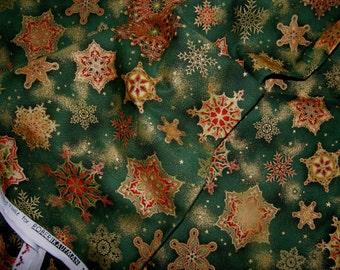 Holiday Flourish 2014 Peggy Toole for Robert Kaufman by the yard, green snowflake