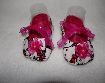 Ready to Ship - Size 3-6 Months - HELLO KITTY  and Hot Pink Leopard Mary Jane Baby Shoes