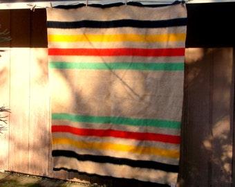 Vintage Stripe Wool PENCO Golden Dawn mothproofed Health Blanket • 75 X 59 inches • J. C. Penney Co.