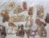 Vintage Die Cut Cardboard Ornaments ~ Christmas Eve Inc. ~ Christmas Tree Decorations  ~ Victorian Christmas ~ Holiday Decor ~ Gold Trim