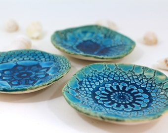 Holiday gifts House warming gift Turquoise bowl Serving Housewares decoration Ceramic bowls set (3 bowls)