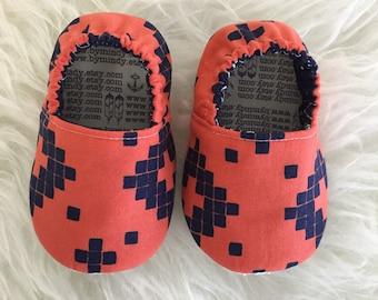 Orange & Navy Geometric Baby Bootie - Elastic Back - Made to Order