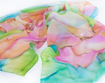 Hand Painted Silk Scarf Dewdrops on Magnolia and Hummingbird Custom Order