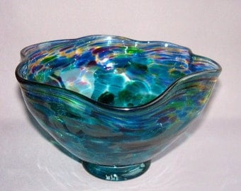 Hand Blown Art Glass Fruit ,Candy Bowl on Foot,Aqua and Multicolor