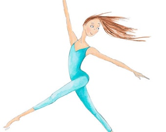 "Dance Ballet Gymnastics Art-8""x10"" Giclee Print-Redhead Dancer Gymnast-Aqua Teal-Leaping-Modern Jazz Lyrical-Illustration-Watercolor-WallArt"