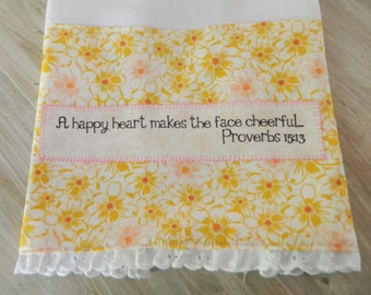 Pink and golden Floral Dish Towel, a happy heart makes the face cheerful