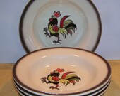 4 Metlox California  Poppy Trail  Soup or Cereals Bowls, Breakfast Dishes, Strutting Rooster,  Roosters, Country Kitchen
